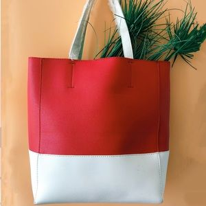 RED COLORBLOCK TOP HANDLE TOTE